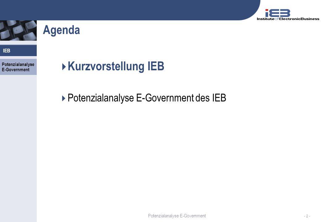 Potenzialanalyse E-Government IEB - 2 - Agenda Kurzvorstellung IEB Potenzialanalyse E-Government des IEB IEB