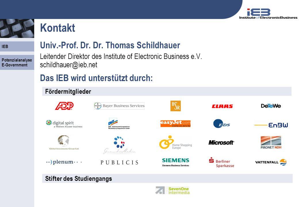 IEB - 36 - Kontakt Univ.-Prof. Dr. Dr. Thomas Schildhauer Leitender Direktor des Institute of Electronic Business e.V. schildhauer@ieb.net Das IEB wir