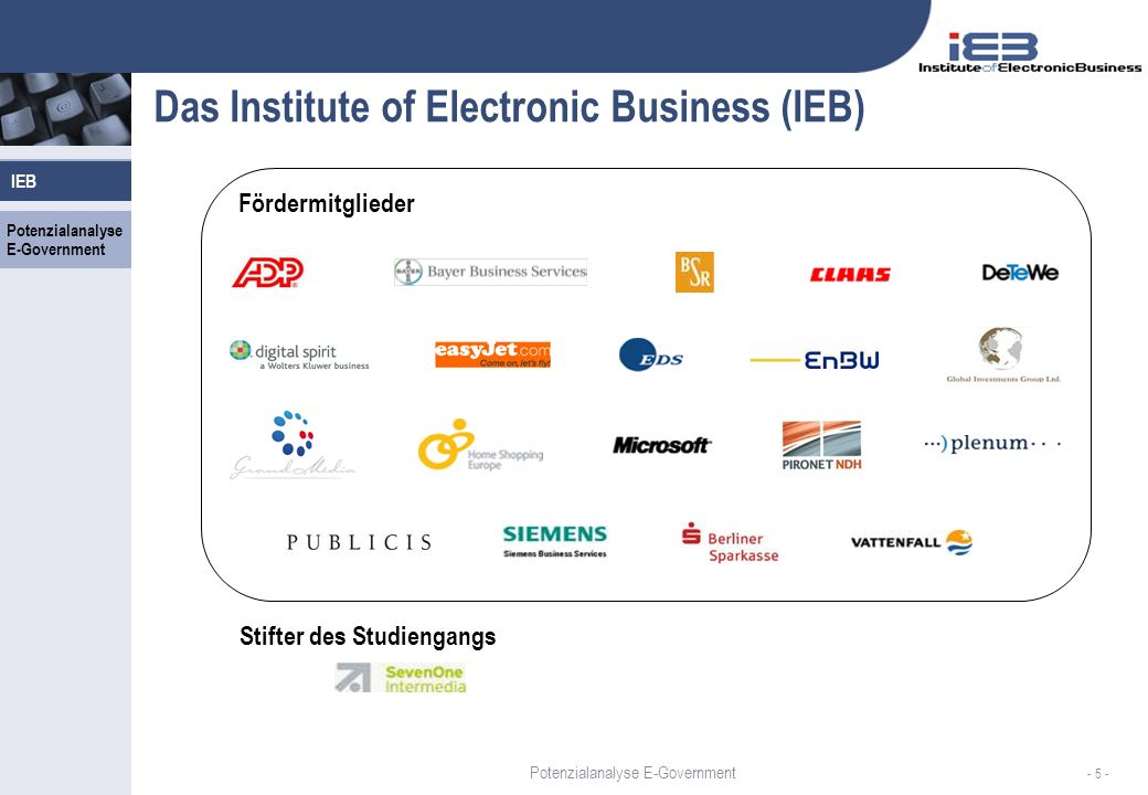 IEB - 26 - Erfassung der Prozesse, der organisatorischen Einheiten, der Medien und Systeme Potenzialanalyse E-Government