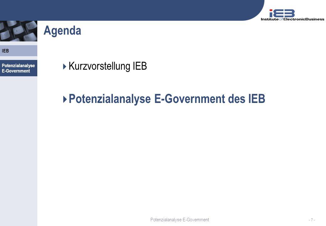 IEB - 8 - E-Government am IEB 2001-2006 Projekte seit 2001 für Fortschritt im E-Government Potenzialanalyse E-Government