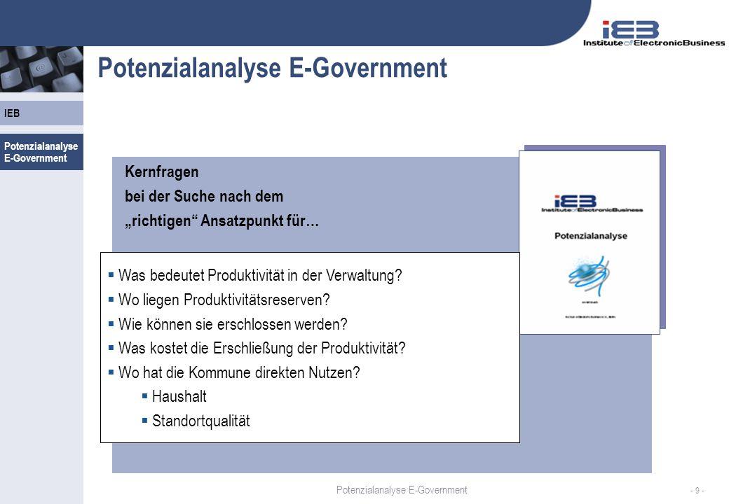 IEB - 9 - Potenzialanalyse E-Government Kernfragen bei der Suche nach dem richtigen Ansatzpunkt für… Was bedeutet Produktivität in der Verwaltung? Wo