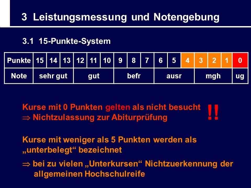 3 Leistungsmessung und Notengebung 3.1 15-Punkte-System Punkte1514131211109876543210 Notesehr gutgutbefrausrmghug Kurse mit weniger als 5 Punkten werd