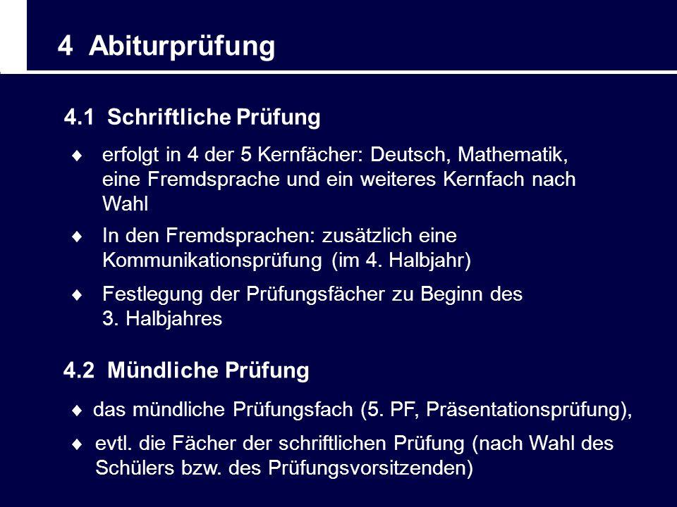 4 Abiturprüfung 4.1 Schriftliche Prüfung erfolgt in 4 der 5 Kernfächer: Deutsch, Mathematik, eine Fremdsprache und ein weiteres Kernfach nach Wahl Fes