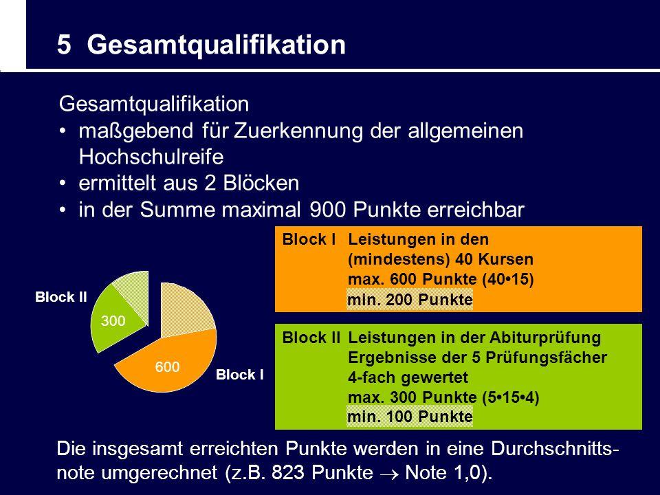 Block I 600 Block II 300 5 Gesamtqualifikation Gesamtqualifikation maßgebend für Zuerkennung der allgemeinen Hochschulreife ermittelt aus 2 Blöcken in