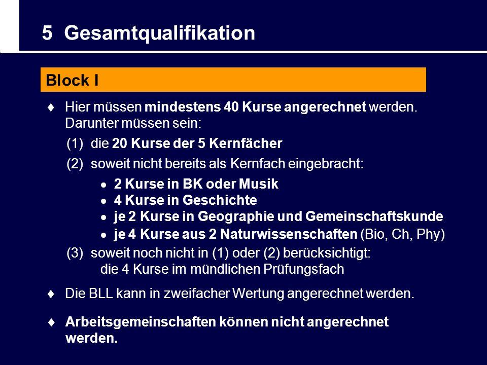 5 Gesamtqualifikation Block I Arbeitsgemeinschaften können nicht angerechnet werden. Die BLL kann in zweifacher Wertung angerechnet werden. Hier müsse