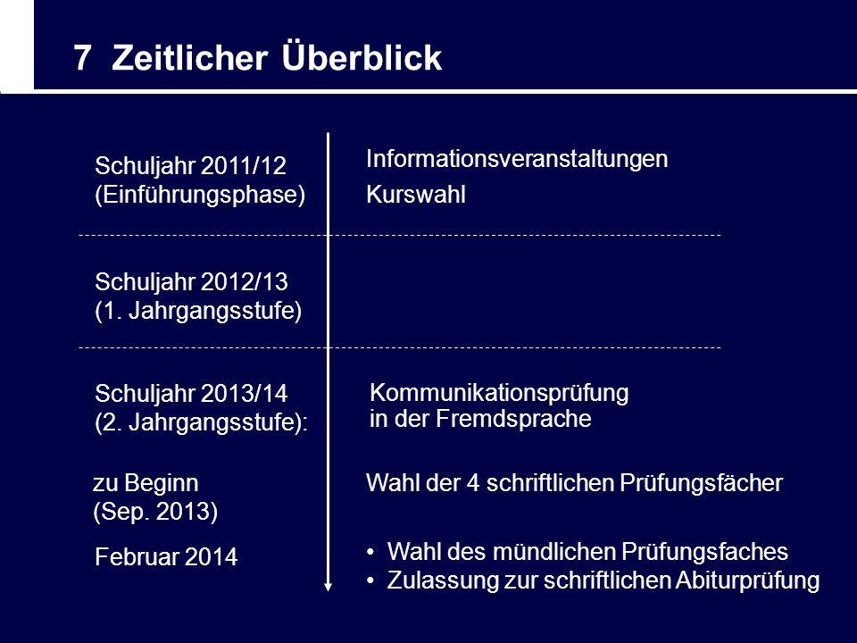 7 Zeitlicher Überblick Schuljahr 2011/12 (Einführungsphase) Informationsveranstaltungen Kurswahl Schuljahr 2012/13 (1. Jahrgangsstufe) Schuljahr 2013/