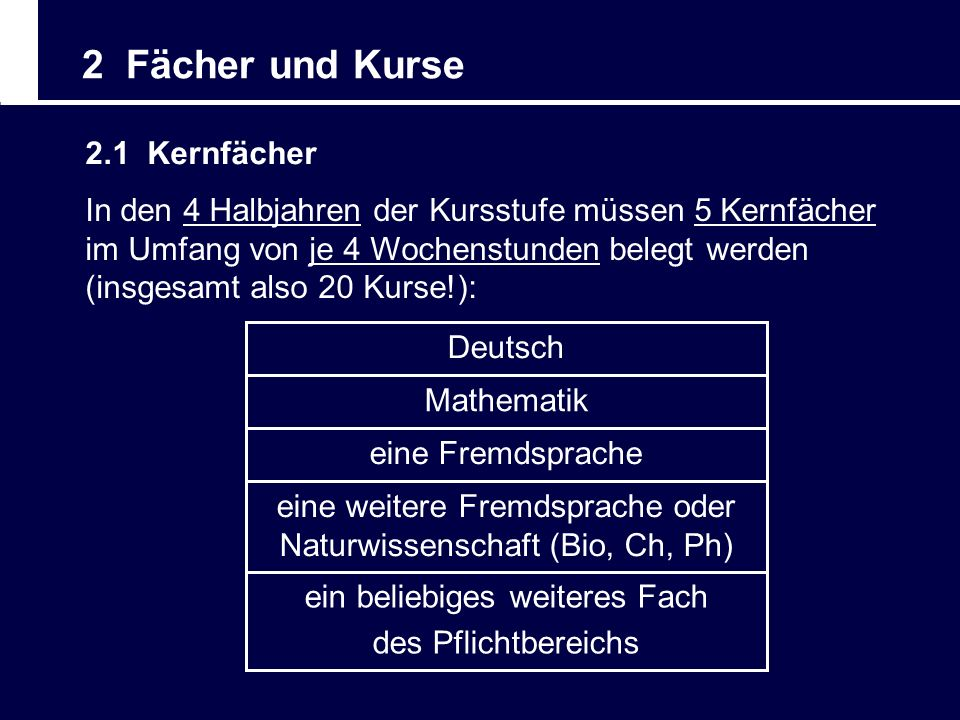 2 Fächer und Kurse 2.1 Kernfächer ein beliebiges weiteres Fach des Pflichtbereichs eine weitere Fremdsprache oder Naturwissenschaft (Bio, Ch, Ph) eine