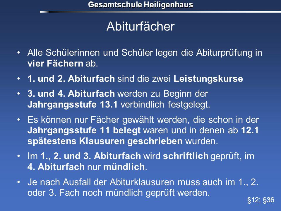 Gesamtschule Heiligenhaus Abiturfächer Alle Schülerinnen und Schüler legen die Abiturprüfung in vier Fächern ab. 1. und 2. Abiturfach sind die zwei Le