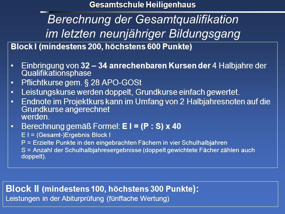 Gesamtschule Heiligenhaus Zulassung zum Abitur – Leistungsdefizite (weniger als 5 Punkte) Bei Einbringung von: 32 Kursen:6 Defizite, davon höchstens 3 Leistungskursdefizite 33 – 34 Kursen:7 Defizite, davon höchstens 3 Leistungskursdefizite Kein anzurechnender Kurs darf mit 0 Punkten abgeschlossen werden.