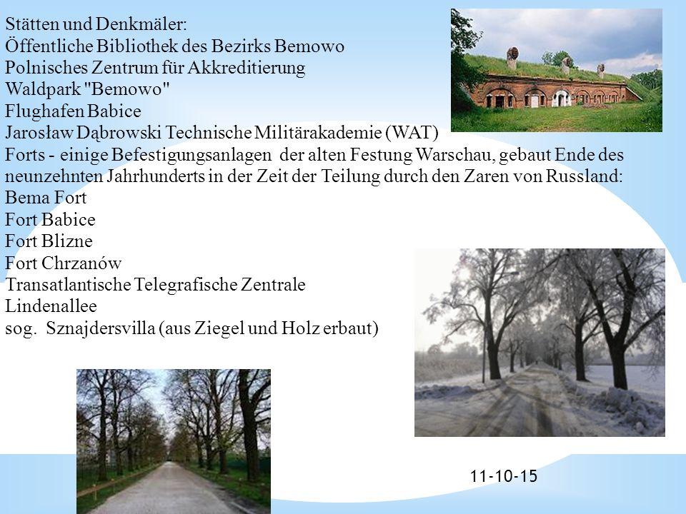11-10-15 Stätten und Denkmäler: Öffentliche Bibliothek des Bezirks Bemowo Polnisches Zentrum für Akkreditierung Waldpark