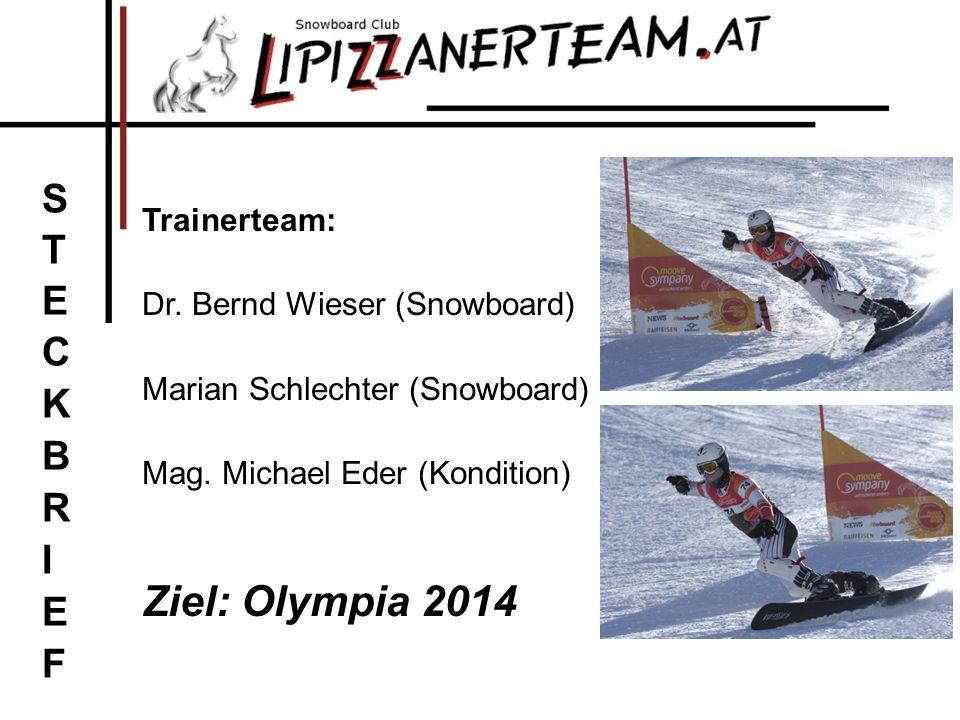 Trainerteam: Dr. Bernd Wieser (Snowboard) Marian Schlechter (Snowboard) Mag. Michael Eder (Kondition) Ziel: Olympia 2014