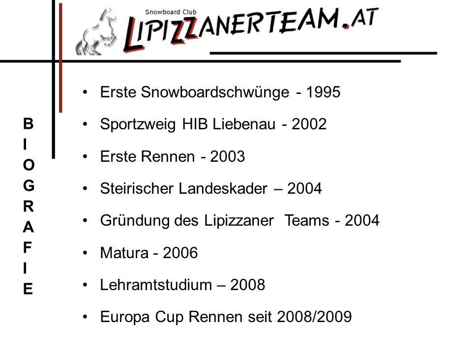 Erste Snowboardschwünge - 1995 Sportzweig HIB Liebenau - 2002 Erste Rennen - 2003 Steirischer Landeskader – 2004 Gründung des Lipizzaner Teams - 2004