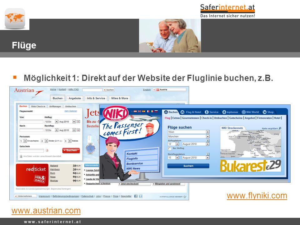 Flüge Möglichkeit 1: Direkt auf der Website der Fluglinie buchen, z.B.