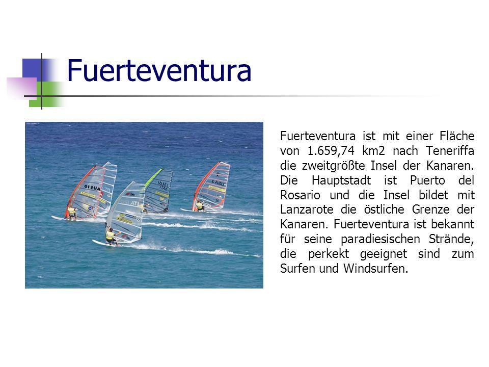 Fuerteventura Fuerteventura ist mit einer Fläche von 1.659,74 km2 nach Teneriffa die zweitgrößte Insel der Kanaren. Die Hauptstadt ist Puerto del Rosa