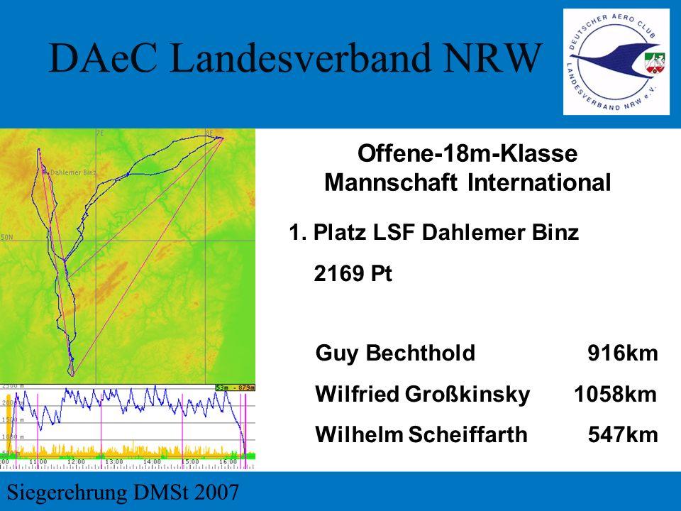1. Platz LSF Dahlemer Binz 2169 Pt Offene-18m-Klasse Mannschaft International Guy Bechthold916km Wilfried Großkinsky 1058km Wilhelm Scheiffarth547km