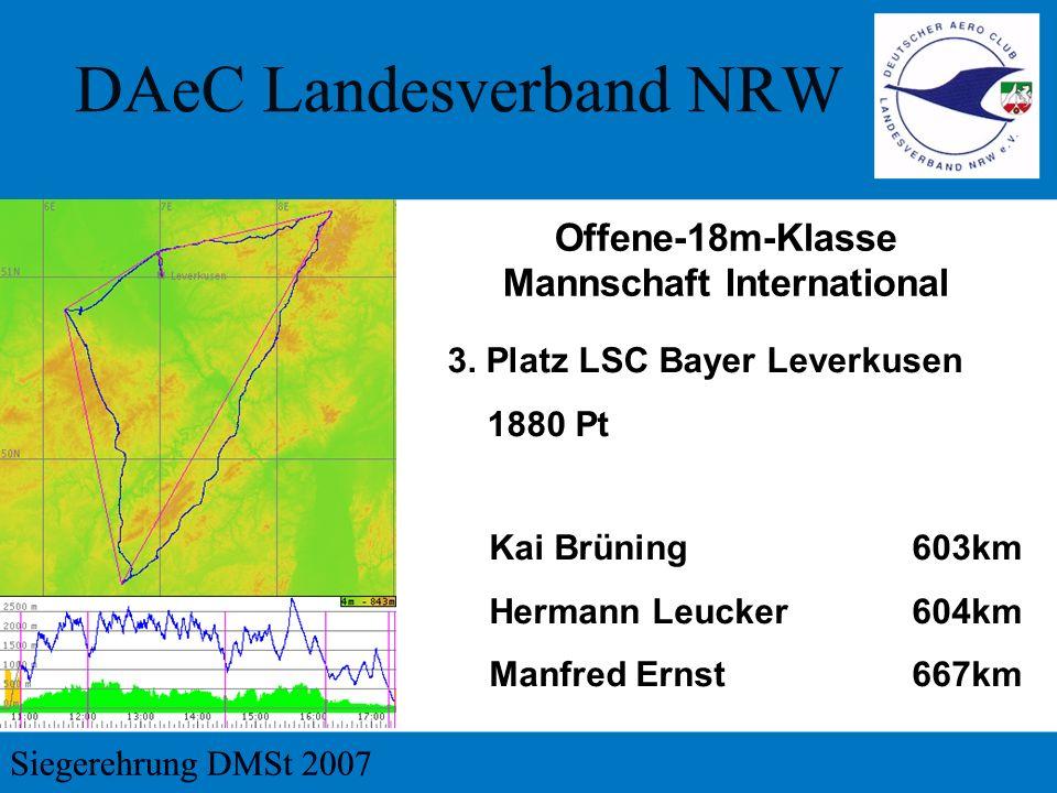 3. Platz LSC Bayer Leverkusen 1880 Pt Kai Brüning603km Hermann Leucker604km Manfred Ernst667km Offene-18m-Klasse Mannschaft International