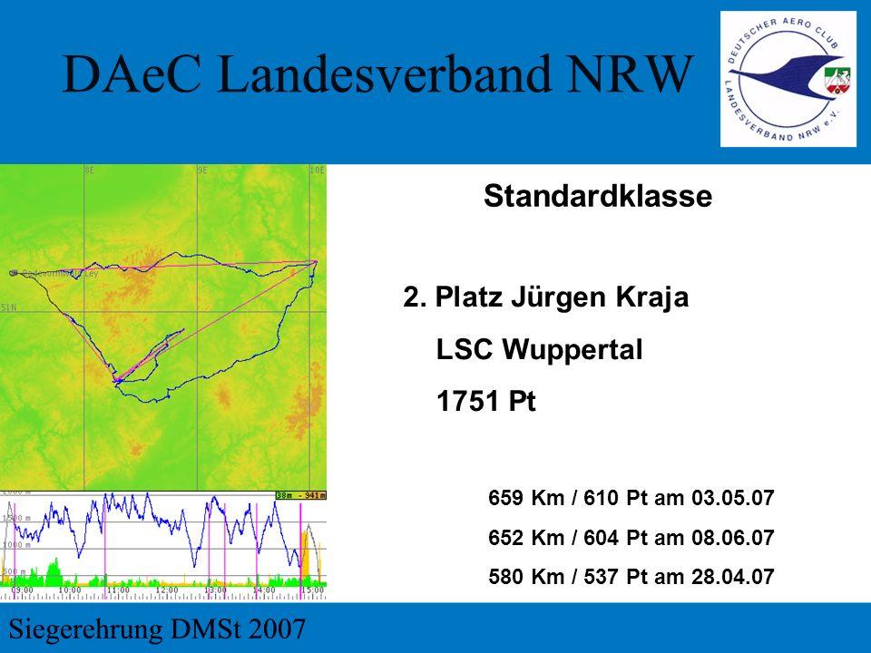 2. Platz Jürgen Kraja LSC Wuppertal 1751 Pt 659 Km / 610 Pt am 03.05.07 652 Km / 604 Pt am 08.06.07 580 Km / 537 Pt am 28.04.07 Standardklasse