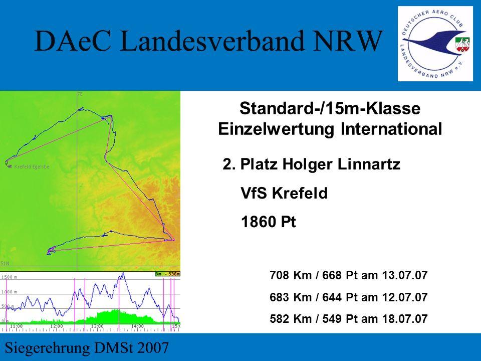 2. Platz Holger Linnartz VfS Krefeld 1860 Pt 708 Km / 668 Pt am 13.07.07 683 Km / 644 Pt am 12.07.07 582 Km / 549 Pt am 18.07.07 Standard-/15m-Klasse