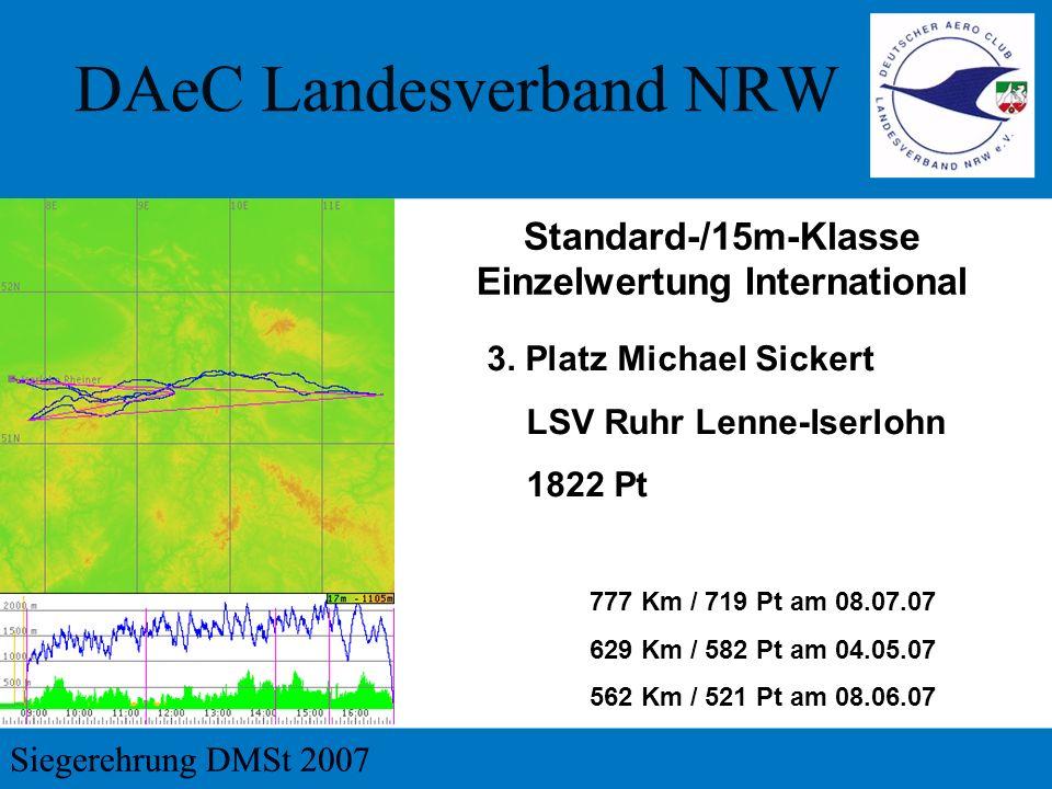3. Platz Michael Sickert LSV Ruhr Lenne-Iserlohn 1822 Pt 777 Km / 719 Pt am 08.07.07 629 Km / 582 Pt am 04.05.07 562 Km / 521 Pt am 08.06.07 Standard-