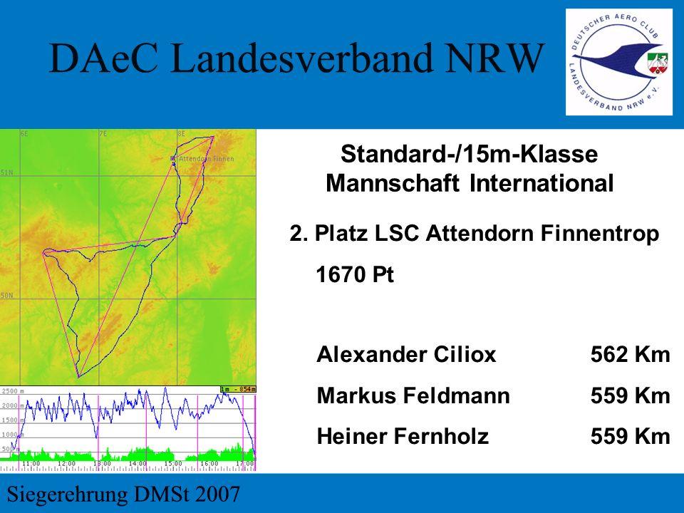 2. Platz LSC Attendorn Finnentrop 1670 Pt Standard-/15m-Klasse Mannschaft International Alexander Ciliox 562 Km Markus Feldmann 559 Km Heiner Fernholz