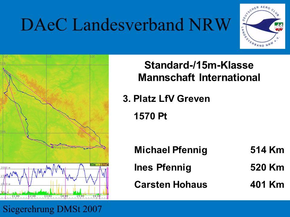 3. Platz LfV Greven 1570 Pt Standard-/15m-Klasse Mannschaft International Michael Pfennig 514 Km Ines Pfennig 520 Km Carsten Hohaus401 Km