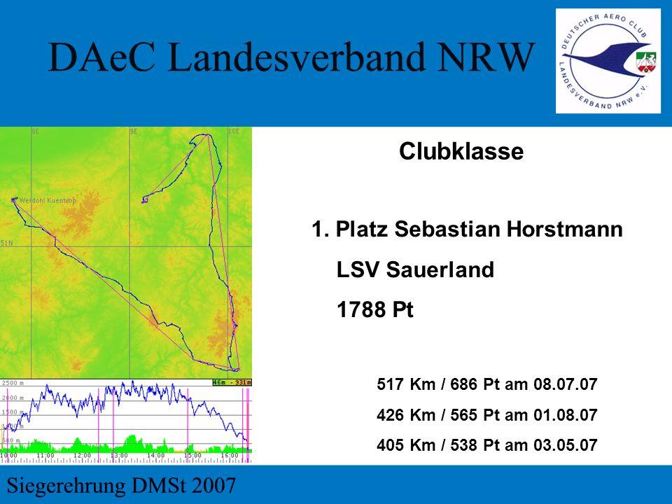 1. Platz Sebastian Horstmann LSV Sauerland 1788 Pt Clubklasse 517 Km / 686 Pt am 08.07.07 426 Km / 565 Pt am 01.08.07 405 Km / 538 Pt am 03.05.07