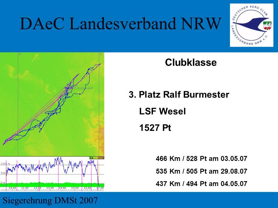 3. Platz Ralf Burmester LSF Wesel 1527 Pt 466 Km / 528 Pt am 03.05.07 535 Km / 505 Pt am 29.08.07 437 Km / 494 Pt am 04.05.07 Clubklasse
