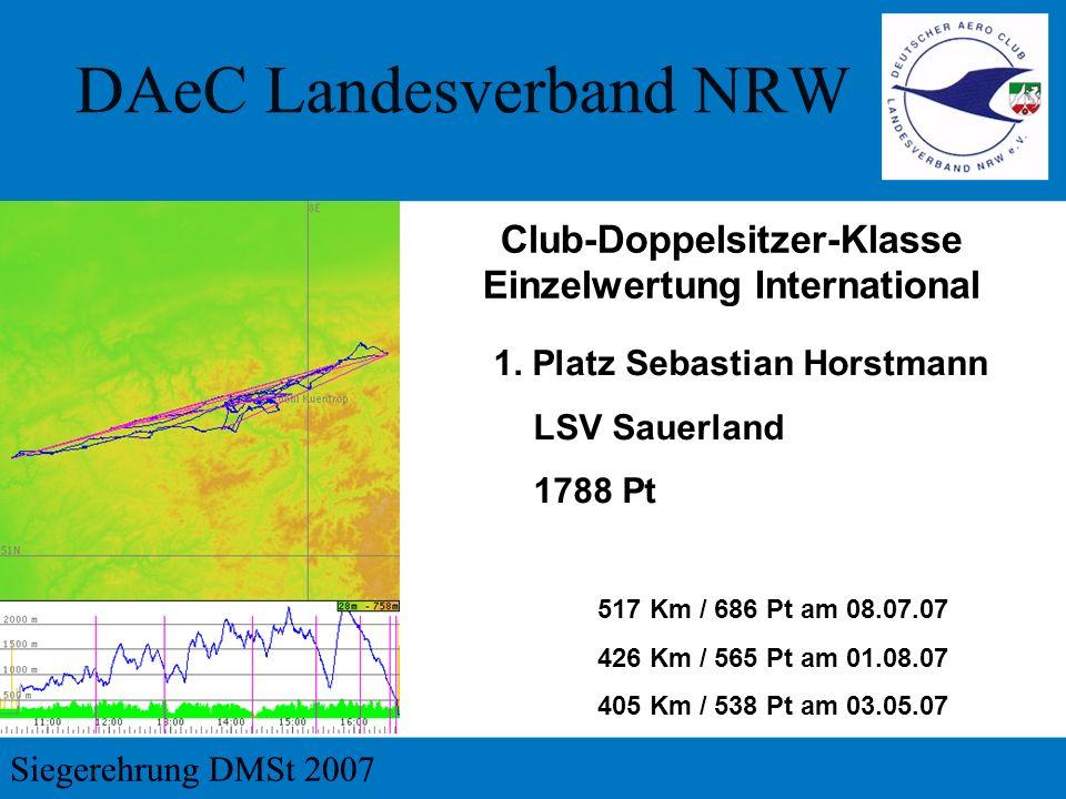 1. Platz Sebastian Horstmann LSV Sauerland 1788 Pt Club-Doppelsitzer-Klasse Einzelwertung International 517 Km / 686 Pt am 08.07.07 426 Km / 565 Pt am