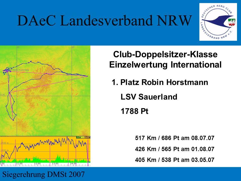 1. Platz Robin Horstmann LSV Sauerland 1788 Pt Club-Doppelsitzer-Klasse Einzelwertung International 517 Km / 686 Pt am 08.07.07 426 Km / 565 Pt am 01.