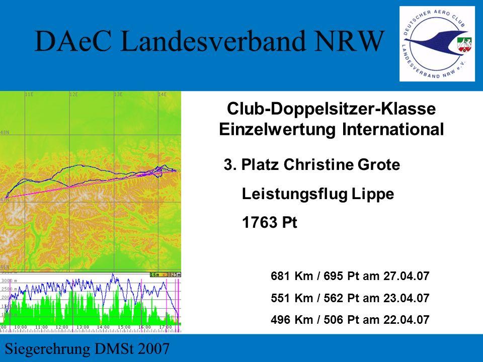 3. Platz Christine Grote Leistungsflug Lippe 1763 Pt 681 Km / 695 Pt am 27.04.07 551 Km / 562 Pt am 23.04.07 496 Km / 506 Pt am 22.04.07 Club-Doppelsi