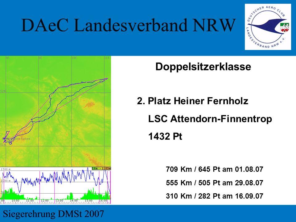 2. Platz Heiner Fernholz LSC Attendorn-Finnentrop 1432 Pt 709 Km / 645 Pt am 01.08.07 555 Km / 505 Pt am 29.08.07 310 Km / 282 Pt am 16.09.07 Doppelsi