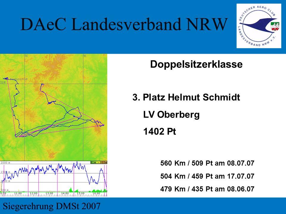 3. Platz Helmut Schmidt LV Oberberg 1402 Pt 560 Km / 509 Pt am 08.07.07 504 Km / 459 Pt am 17.07.07 479 Km / 435 Pt am 08.06.07 Doppelsitzerklasse