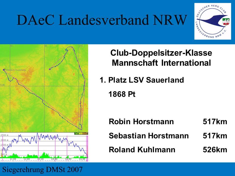 1.Platz LSV Sauerland 1868 Pt Club-Doppelsitzer-Klasse Mannschaft International Robin Horstmann517km Sebastian Horstmann517km Roland Kuhlmann526km