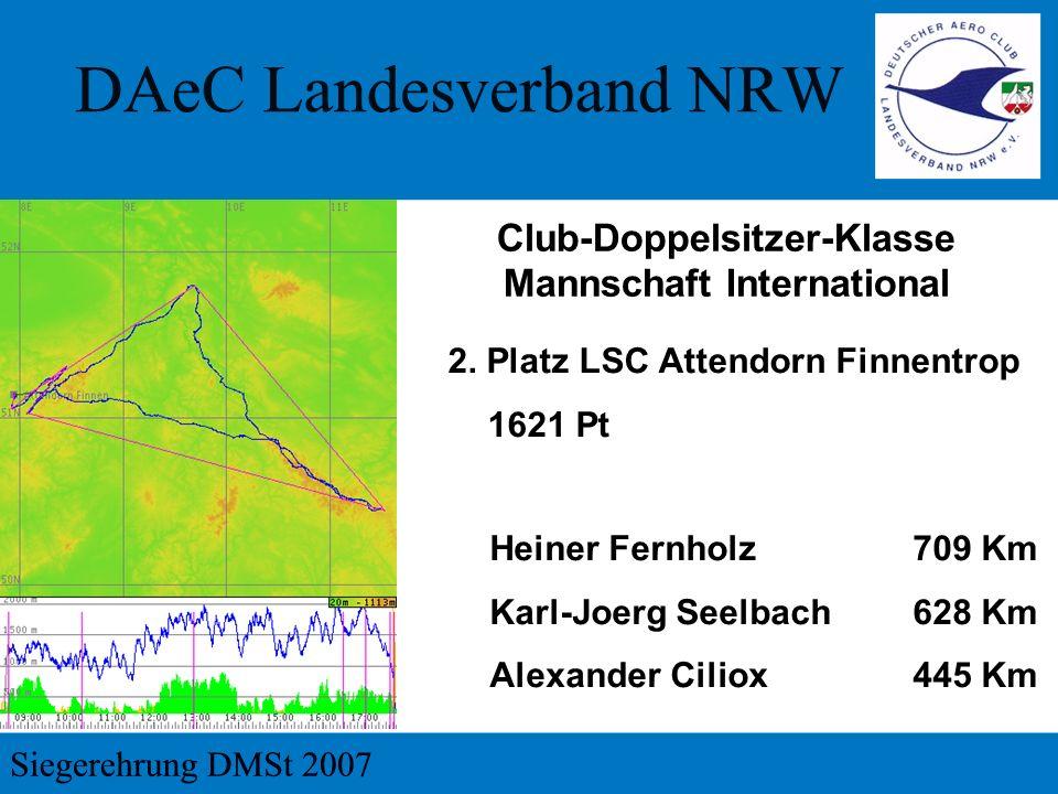2. Platz LSC Attendorn Finnentrop 1621 Pt Club-Doppelsitzer-Klasse Mannschaft International Heiner Fernholz709 Km Karl-Joerg Seelbach628 Km Alexander