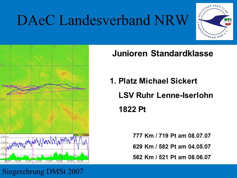 Junioren Standardklasse 1.Platz Michael Sickert LSV Ruhr Lenne-Iserlohn 1822 Pt 777 Km / 719 Pt am 08.07.07 629 Km / 582 Pt am 04.05.07 562 Km / 521 Pt am 08.06.07
