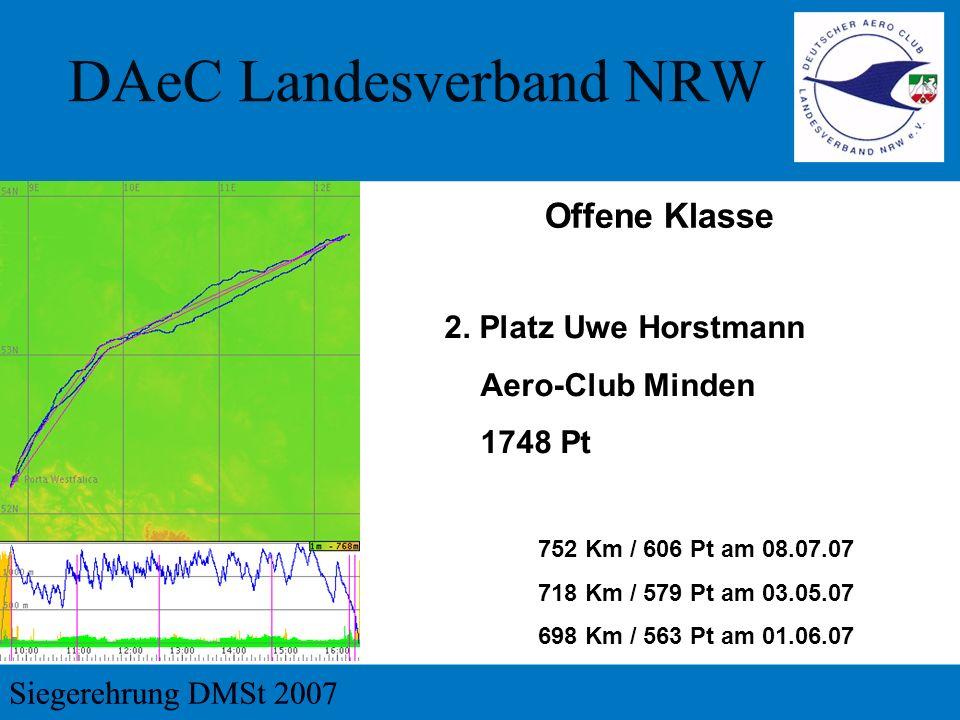 2. Platz Uwe Horstmann Aero-Club Minden 1748 Pt 752 Km / 606 Pt am 08.07.07 718 Km / 579 Pt am 03.05.07 698 Km / 563 Pt am 01.06.07 Offene Klasse