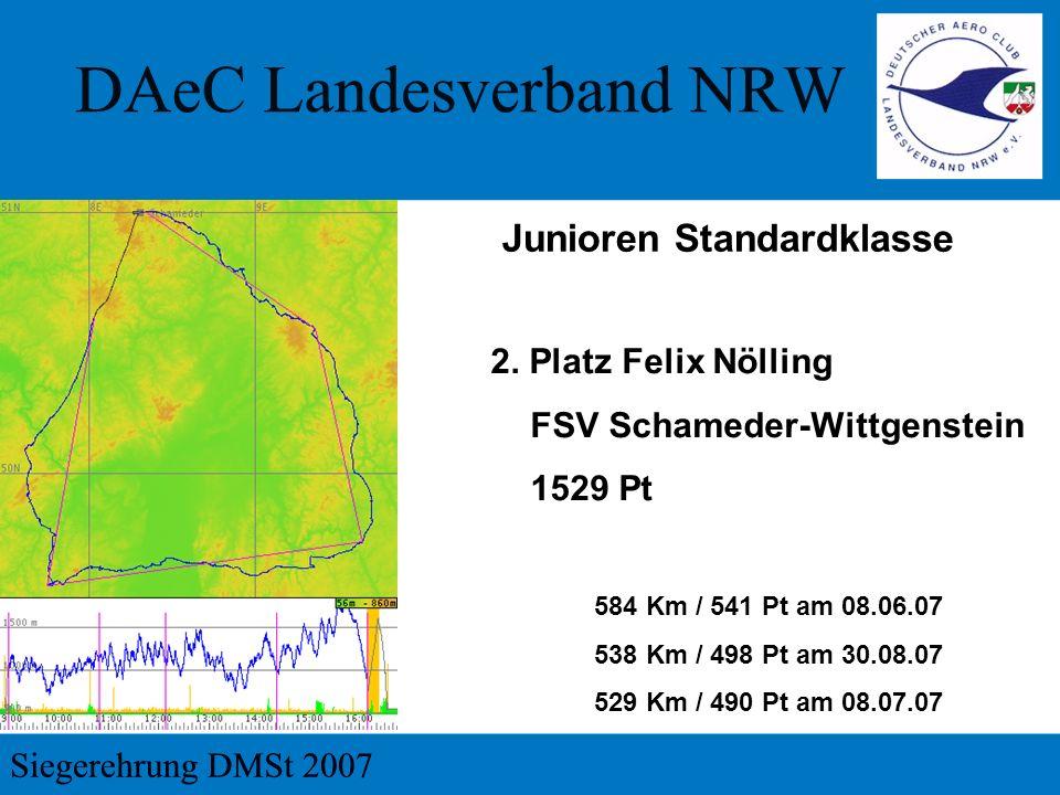 2. Platz Felix Nölling FSV Schameder-Wittgenstein 1529 Pt 584 Km / 541 Pt am 08.06.07 538 Km / 498 Pt am 30.08.07 529 Km / 490 Pt am 08.07.07 Junioren