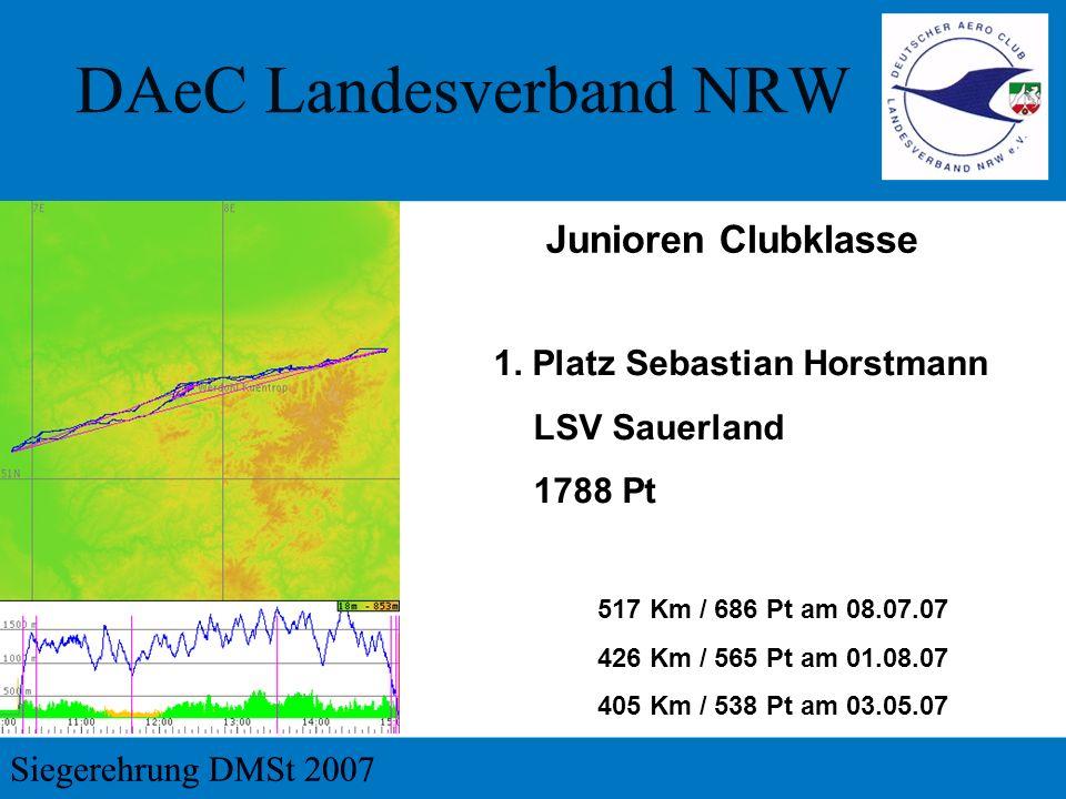 1. Platz Sebastian Horstmann LSV Sauerland 1788 Pt Junioren Clubklasse 517 Km / 686 Pt am 08.07.07 426 Km / 565 Pt am 01.08.07 405 Km / 538 Pt am 03.0
