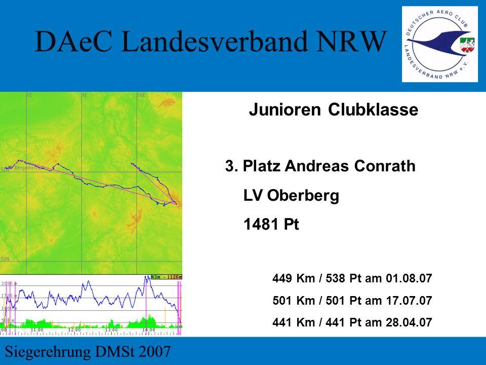 3. Platz Andreas Conrath LV Oberberg 1481 Pt 449 Km / 538 Pt am 01.08.07 501 Km / 501 Pt am 17.07.07 441 Km / 441 Pt am 28.04.07 Junioren Clubklasse