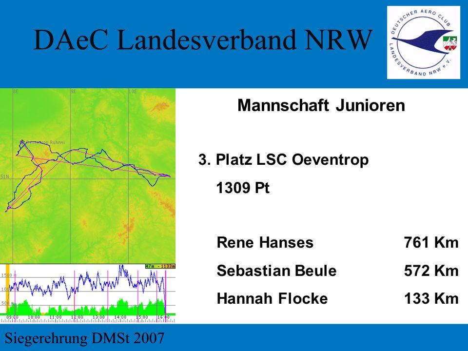 Mannschaft Junioren 3.Platz LSC Oeventrop 1309 Pt Rene Hanses 761 Km Sebastian Beule572 Km Hannah Flocke133 Km