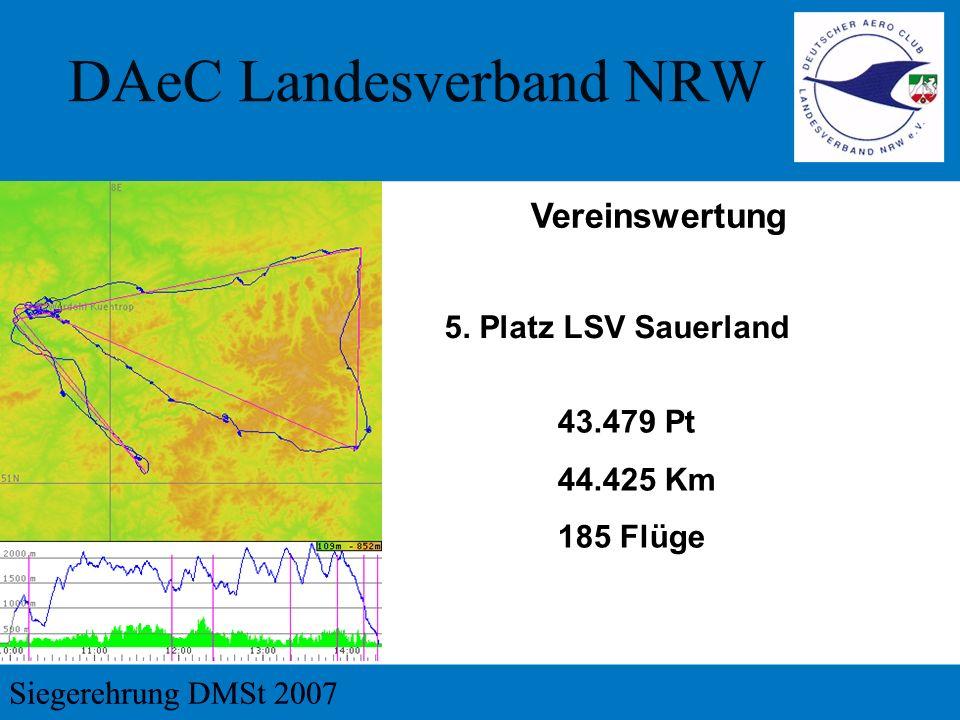 5. Platz LSV Sauerland Vereinswertung 43.479 Pt 44.425 Km 185 Flüge