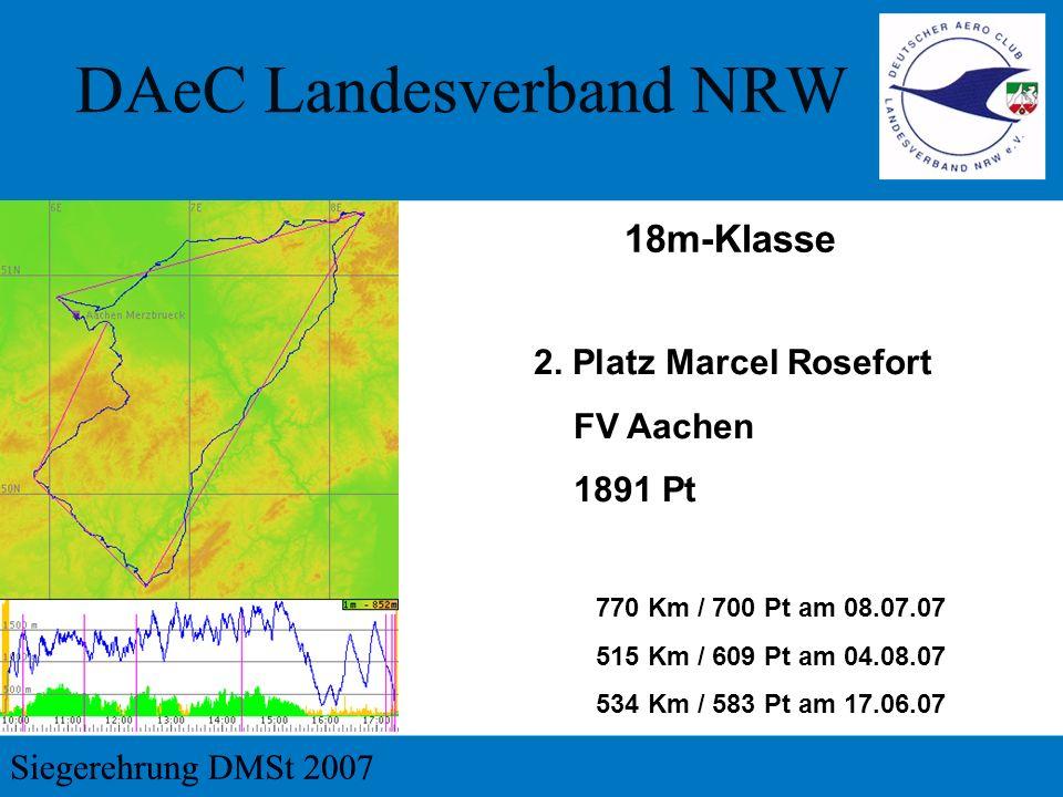 2. Platz Marcel Rosefort FV Aachen 1891 Pt 770 Km / 700 Pt am 08.07.07 515 Km / 609 Pt am 04.08.07 534 Km / 583 Pt am 17.06.07 18m-Klasse