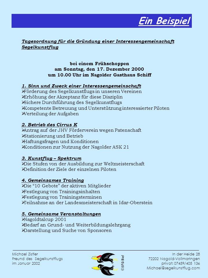 SFG Biel In der Heide 28 72202 Nagold-Vollmaringen privat: 07459/405 136 Michael@segelkunstflug.com Michael Zistler Freund des Segelkunstflugs im Januar 2002 Tagesordnung für die Gründung einer Interessengemeinschaft Segelkunstflug bei einem Frühschoppen am Sonntag, den 17.