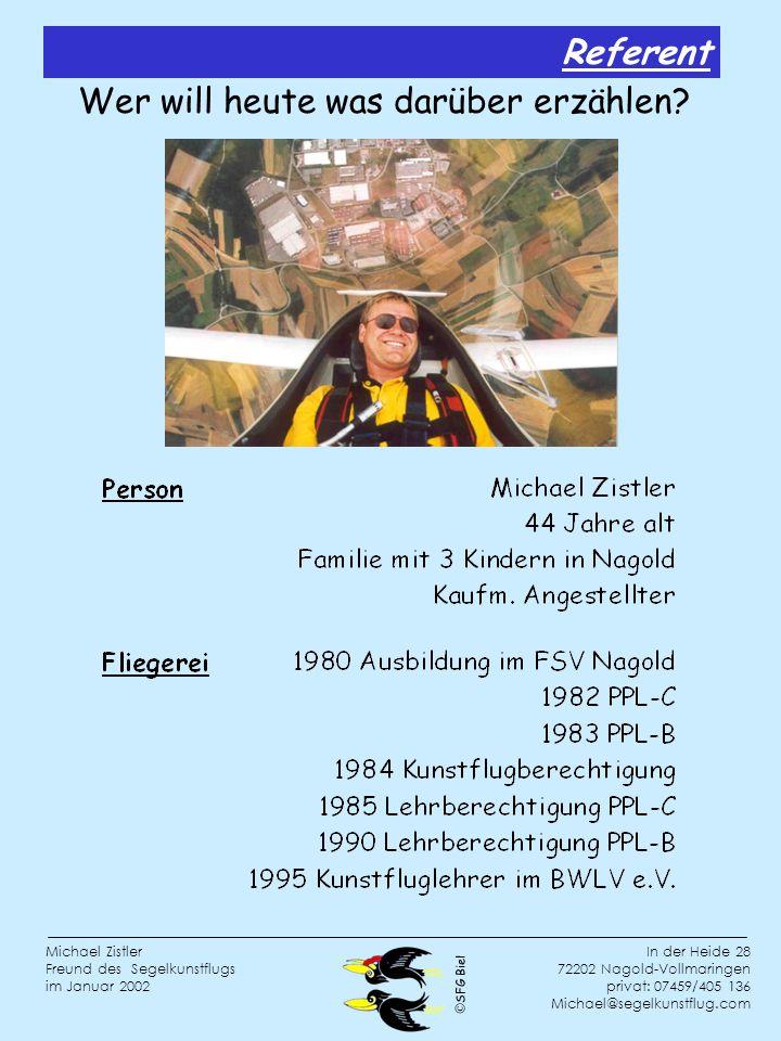 SFG Biel In der Heide 28 72202 Nagold-Vollmaringen privat: 07459/405 136 Michael@segelkunstflug.com Michael Zistler Freund des Segelkunstflugs im Januar 2002 Wer will heute was darüber erzählen.