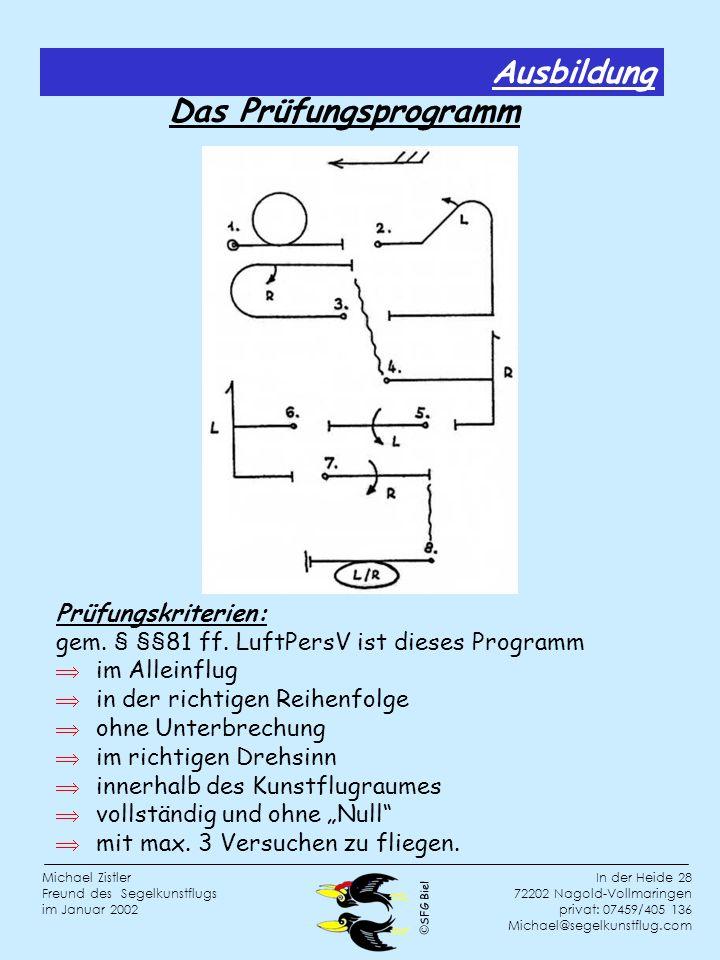 SFG Biel In der Heide 28 72202 Nagold-Vollmaringen privat: 07459/405 136 Michael@segelkunstflug.com Michael Zistler Freund des Segelkunstflugs im Januar 2002 Das Prüfungsprogramm Prüfungskriterien: gem.