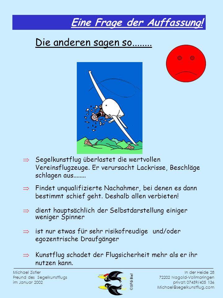 SFG Biel In der Heide 28 72202 Nagold-Vollmaringen privat: 07459/405 136 Michael@segelkunstflug.com Michael Zistler Freund des Segelkunstflugs im Januar 2002 Segelkunstflug überlastet die wertvollen Vereinsflugzeuge.