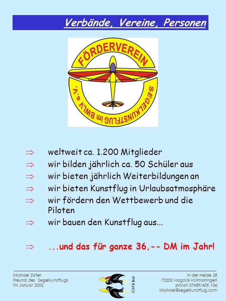 SFG Biel In der Heide 28 72202 Nagold-Vollmaringen privat: 07459/405 136 Michael@segelkunstflug.com Michael Zistler Freund des Segelkunstflugs im Januar 2002 Verbände, Vereine, Personen weltweit ca.
