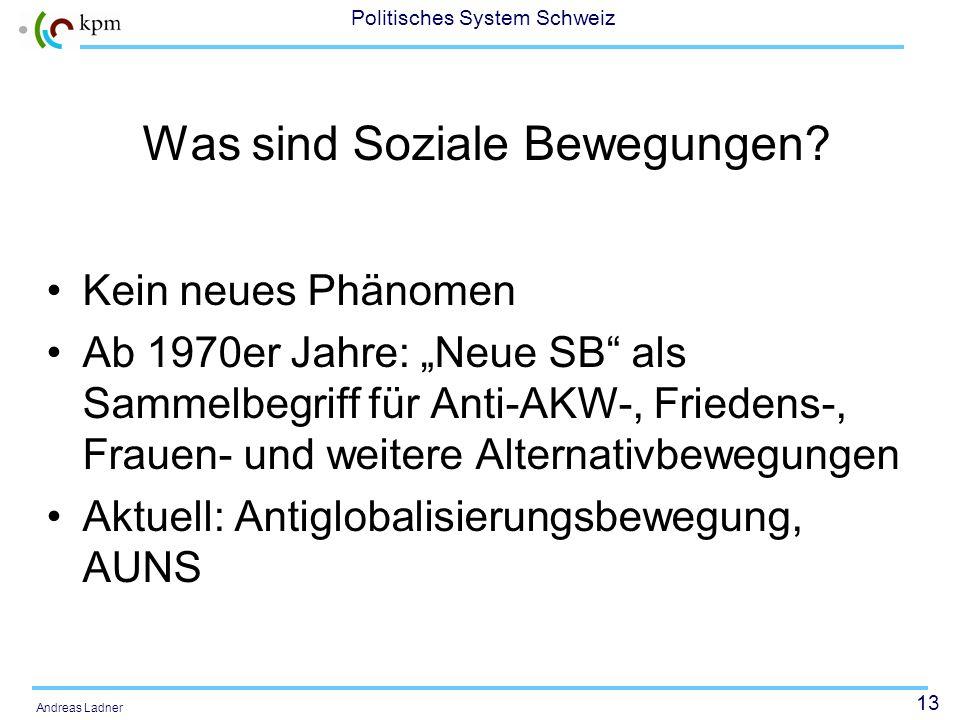 12 Politisches System Schweiz Andreas Ladner 2.Bewegungen