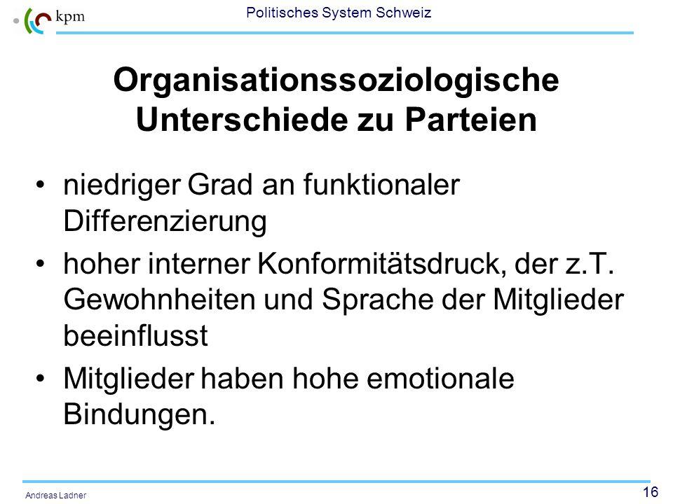15 Politisches System Schweiz Andreas Ladner Unterschied zu Parteien weniger organisiert in Programmatik, Zwecken und Mitteln weniger spezifisch auf d