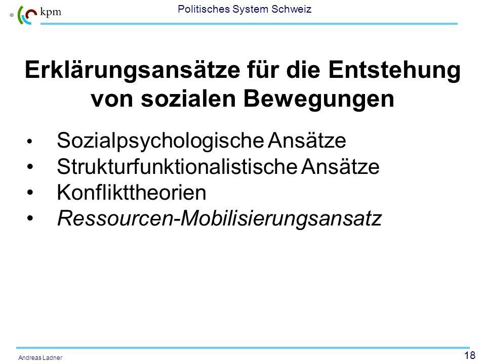 17 Politisches System Schweiz Andreas Ladner Stabilität von Bewegungen Labilität der